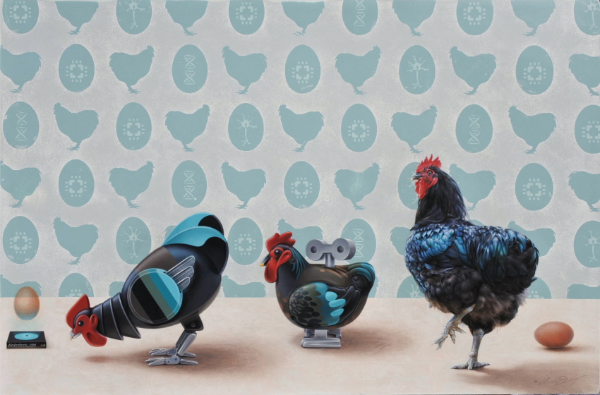 Chicken & Egg Painting by Andrew Denman